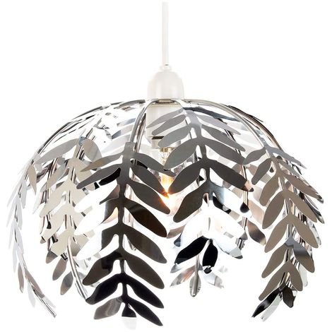 Traditional Fern Leaf Design Ceiling Pendant Light Shade in Silver Chrome Finish by Happy Homewares