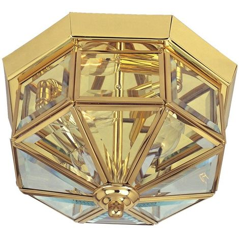 Traditional Flush Ceiling Light In Brass With Beveled Glass
