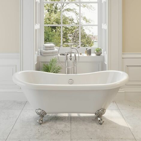 Traditional Freestanding Bath Double Ended Roll Top Ball Feet 1750mm Blenheim