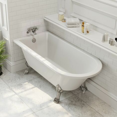 Traditional Freestanding Bath Roll Top Single Ended Dragon Feet 1500mm Worcester