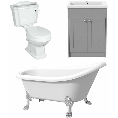 Traditional Freestanding Bathroom suite Three Piece Toilet Vanity Slipper Bath
