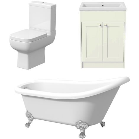Traditional Freestanding Bathroom Suite Toilet Slipper Bath Vanity Three Piece