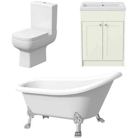 Traditional Freestanding Three Piece Bathroom Suite Vanity Toilet Slipper Bath