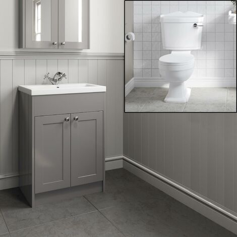 Traditional Grey Bathroom Basin Sink Vanity Unit 600mm Close Coupled Toilet
