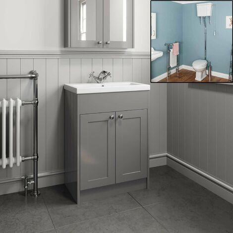 Traditional Grey Bathroom Basin Vanity Unit High Level Close Coupled Toilet