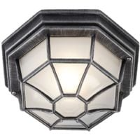 Traditional Hexagonal Black/Silver Flush Ceiling Porch Light by Happy Homewares
