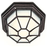 Traditional Hexagonal Rustic Brown Flush Ceiling Porch Light by Happy Homewares