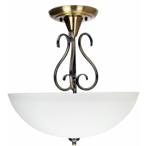 Traditional Ornate Semi Flush Ceiling Light in Antique Brass with Glass Shade by Happy Homewares