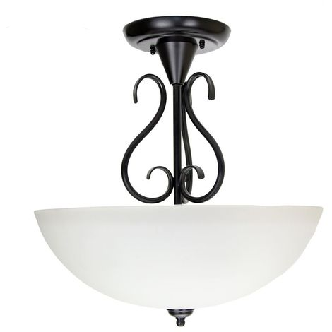 Traditional Ornate Semi Flush Ceiling Light in Matt Black with White Glass Shade by Happy Homewares