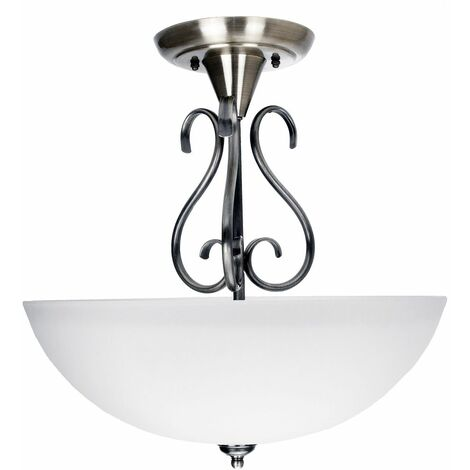 Traditional Ornate Semi Flush Ceiling Light in Satin Nickel with Glass Shade by Happy Homewares