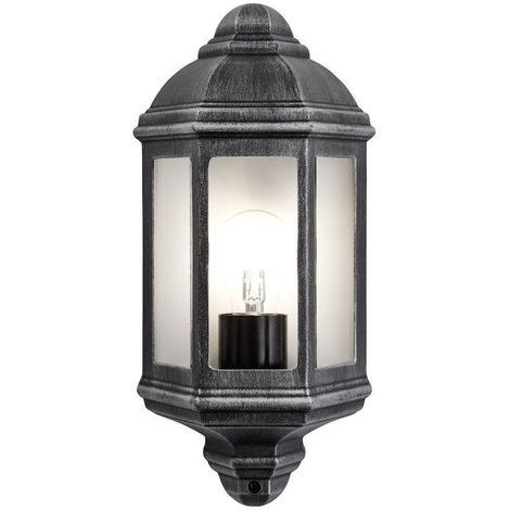 Traditional Outdoor Black/Silver Cast Aluminium Flush Wall Lantern Light Fitting by Happy Homewares
