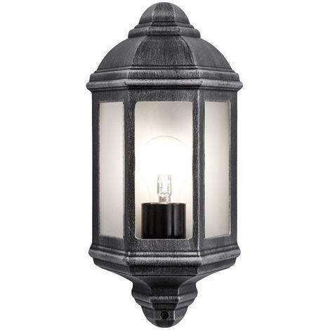 Traditional Outdoor Black/Silver Cast Aluminium Flush Wall Lantern Light Fitting by Happy Homewares
