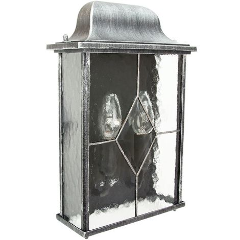 Traditional Outdoor Black/Silver Flush Lantern Light with Clear Cathedral Glass by Happy Homewares