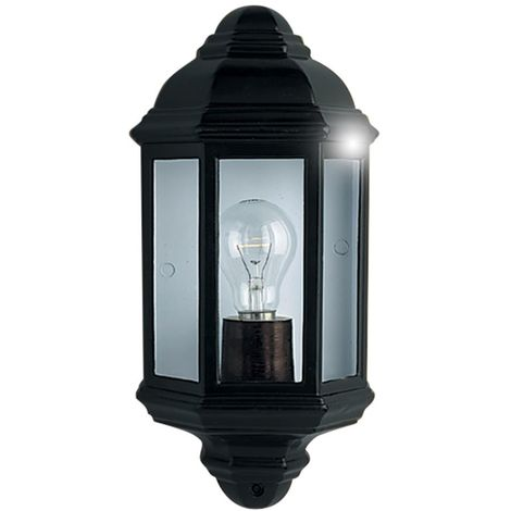 Traditional Outdoor Durable Cast Aluminum Half Wall Light in Black with Clear Glass Panels - LED Compatible