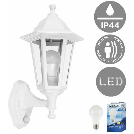 Traditional Outdoor Garden Security IP44 Rated Wall Light Lantern - Integrated PIR Motion Sensor + 6W LED ES E27 Bulb - Black & Silver - Silver