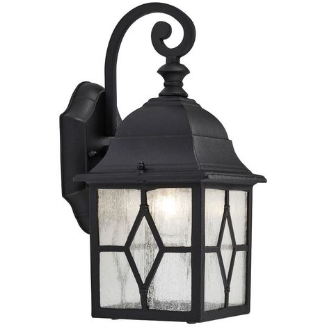 Traditional Outdoor Matt Black Wall Lantern Light with Cathedral Lead Glass by Happy Homewares