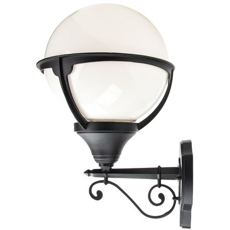 Traditional Outdoor Matt Black Wall Lantern Light with White Globe Diffuser by Happy Homewares