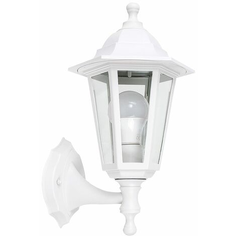 Traditional Outdoor Security IP44 Rated Wall Light Lantern + 6W LED ES E27 Bulb - White