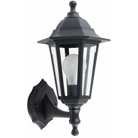 Traditional Outdoor Security IP44 Rated Wall Light Lantern - Black - Black