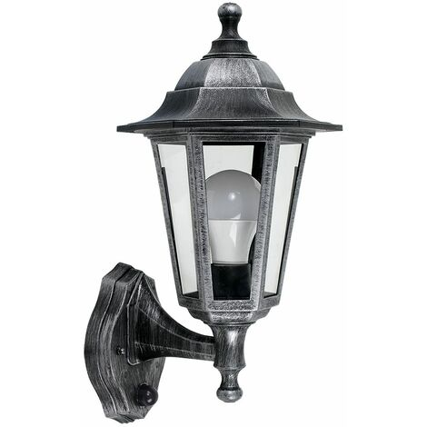 Traditional Outdoor Security PIR Motion Sensor IP44 Rated Wall Light Lantern - Black - Black