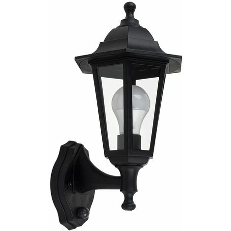 Traditional Outdoor Wall Lantern Dusk - Dawn Sensor Ip44 Garden Light - Black
