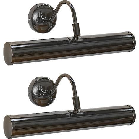 Traditional Picture Wall Light + LED Bulbs MiniSun Indoor Adjustable Art Twin - Black