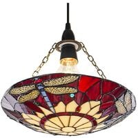 Traditional Red Dragonfly Tiffany Glass Easy Fit Pendant Shade by Happy Homewares