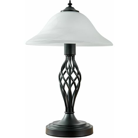 Traditional Satin Black Barley Twist Table Lamp + Frosted Alabaster Shade