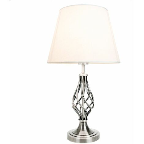 Traditional Satin Nickel Table Lamp with Barley Twist Base and Linen Shade by Happy Homewares