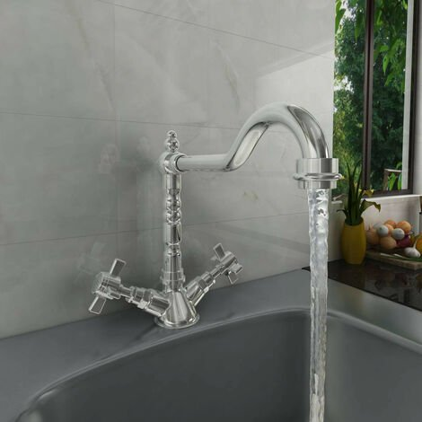 Traditional Solid Brass Tap Dual Twin Lever Swivel Mixer Kitchen Sink Faucet