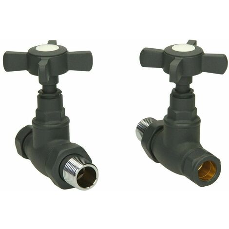 Traditional Straight Heated Towel Rail Radiator Valves Standard Pair Anthracite