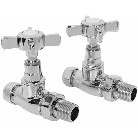 Traditional Straight Radiator Towel Rail Cross-Head Heating Valves