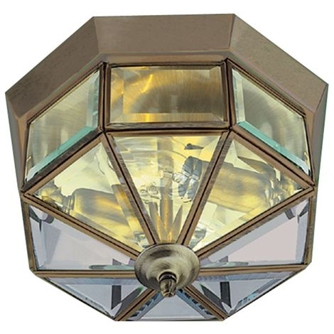 Traditional Style Antique Brass Finish Lantern Style Flush Ceiling Light with Beveled Glass Panels, LED Compatible