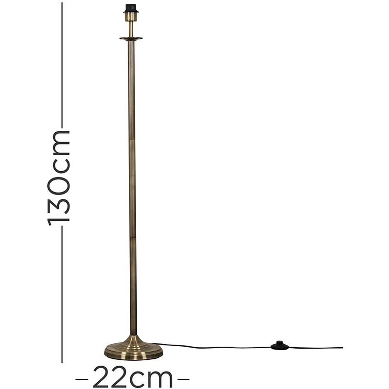 Traditional Style Brushed Chrome Reeded Column Floor Lamp Base