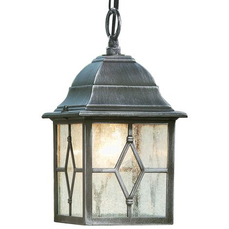 Traditional Style Black Silver Outdoor Security IP Rated Hanging Porch Chain Lantern Light with Leaded Style Cathedral Glass Panels - LED Compatible