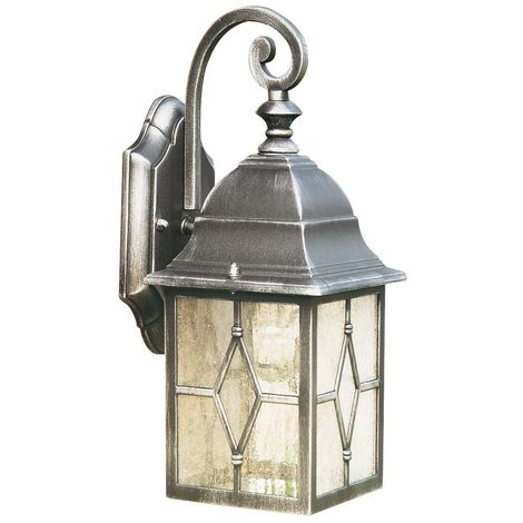 Traditional Style Outdoor Wall Light in Black Silver, Garden Exterior Security IP Rated Wall Lantern Light with Leaded Style Cathedral Glass Panels - LED Compatible