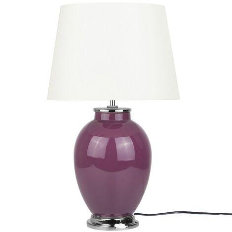 Traditional Table Lamp Bedside Lamp Ceramic Base Empire Shade Purple Brenta