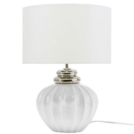 Traditional Table Lamp Bedside Light White Shade Ceramic Base Neris