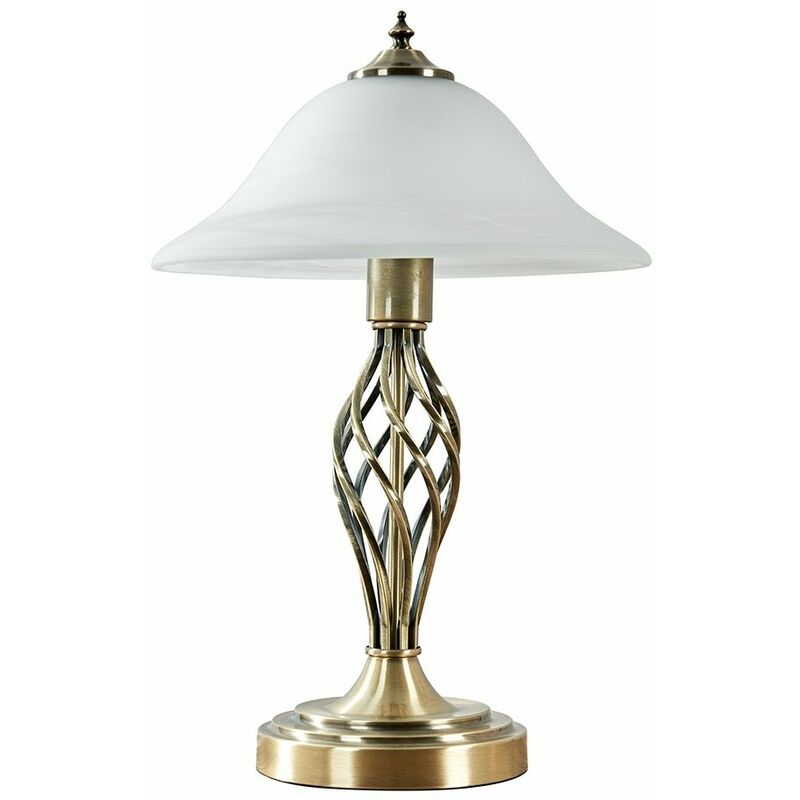 Traditional Table Lamps Barley Twist Bedside Lights With Glass Shade Antique Brass