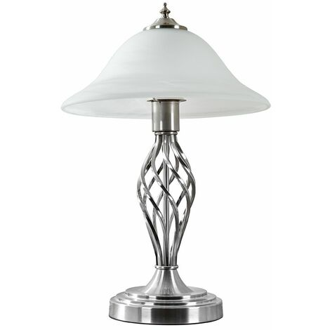 Traditional Table Lamps Barley Twist Bedside Lights With Glass Shade - Brushed Chrome - Silver