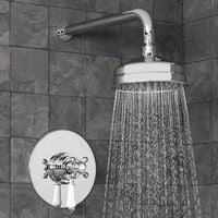 Traditional Thermostatic Concealed Shower Fixed Head Cross Lever
