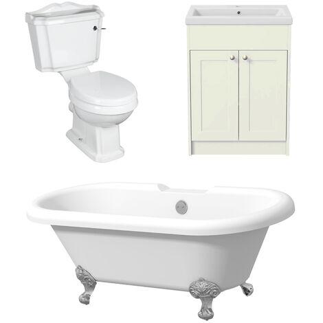 Traditional Three Piece Bathroom Suite Toilet Freestanding Bath Vanity in Ivory