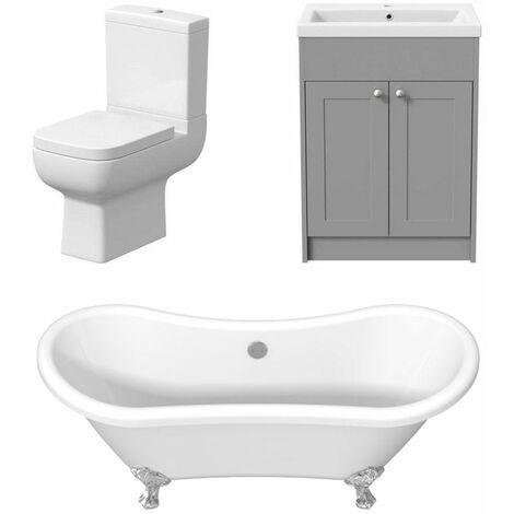 Traditional Three Piece Bathroom Suite Toilet Freestanding Bath Vanity Unit Grey
