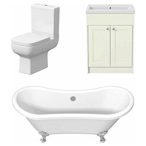 Traditional Three Piece Bathroom Suite Toilet Freestanding Roll Top Bath Vanity