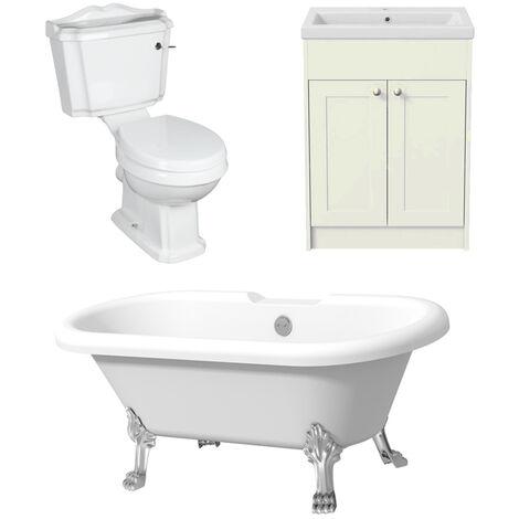 Traditional Three Piece Freestanding Bathroom Suite Toilet Bath Vanity in Ivory