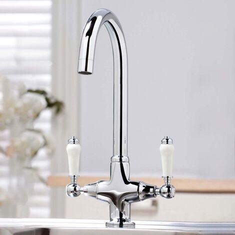 """main image of """"Traditional Twin Lever Kitchen Mixer Tap Chrome"""""""