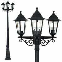 Traditional Victorian 1.95m Black 3 Way IP44 Outdoor Garden Lamp Post Light