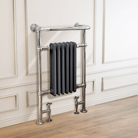 Traditional Victorian 952 x 568mm Chrome & Grey Towel Rail Radiator