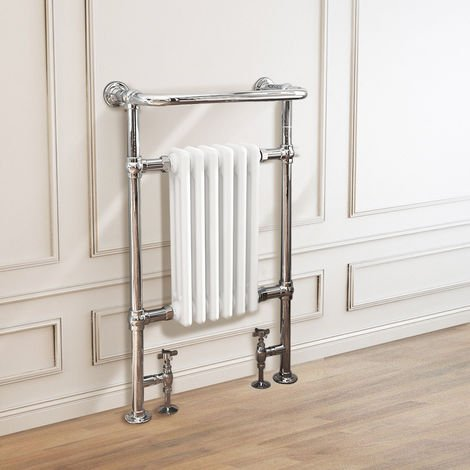 Traditional Victorian 952 x 568mm Chrome & White Towel Rail Radiator