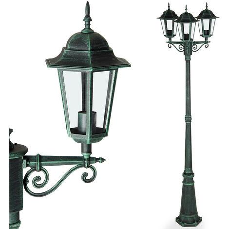 Traditional Victorian Garden Lamp Post 226 cm Bollard 3 Way Lantern IP44 Bronze Or Green